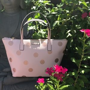 Kate Spade Glitzy Pink polka dot Hand Bag